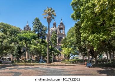Marechal Deodoro square and Porto Alegre Metropolitan Cathedral in downtown - Porto Alegre, Rio Grande do Sul, Brazil