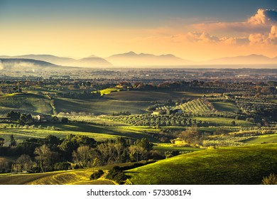 Maremma countryside, sunrise landscape. Green fields and Elba island and sea on horizon. Tuscany, Italy, Europe.