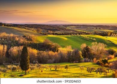Maremma countryside, sunrise landscape. Green fields and Elba island and sea on horizon. Tuscany, Italy, Europe.