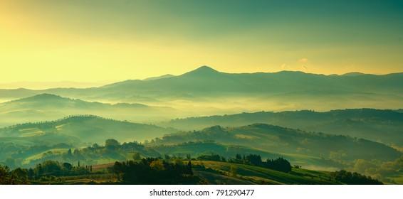 Maremma, rural sunrise landscape. Countryside farm and green fields. Tuscany, Italy, Europe.