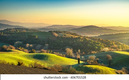 Maremma, rural sunrise landscape.Forest and green fields. Tuscany, Italy, Europe.