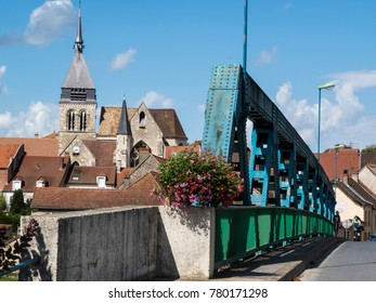 Mareuil-sur-Ay, Champagne, France - 11 August 2014:  The blue bridge to enter the small village. Champagne vineyards in the village of Mareuil sur ay, Epernay, Marne, Champagne region, France