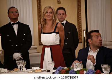 Mareva Grabowski-Mitsotaki attends in a state dinner at the presidential palace in Athens on September 7, 2017, as part of Macron's two-day official visit to Greece.