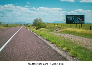 Marfa, Texas - September 18 2019: Welcome to Marfa sign near interstate highway