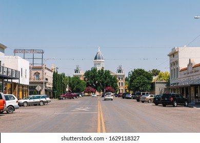 Marfa, Texas / USA 06-03-2019 A view of the courthouse building in Marfa Texas during a bright summer day