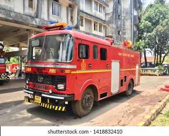 Margao, Goa / India - June 07 2019: A fire truck parked outside the firestation on a sunny day in Margao, India.