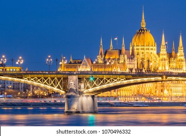 Margaret Bridge with 4-6 tram, Hungarian Parliament, Danube - Budapest - Hungary