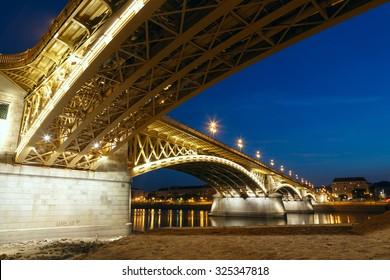 Margaret bridge at dusk in Budapest - Hungary