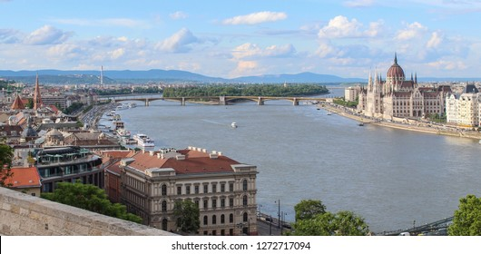 The Margaret bridge on the Danube river connecting Buda and Pest.