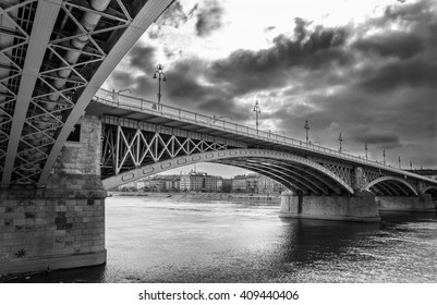 The Margaret Bridge with storm clouds.