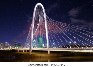 Margaret Hunt Hill Bridge at night in Dallas, Texas,Margaret Hunt Hill Bridge and Dallas downtown skyline,  milky way galaxy,