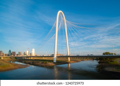 Margaret Hunt Hill Bridge  at sunset in Dallas, Texas
