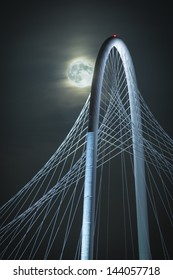 Margaret Hunt Hill Bridge and Super Moon