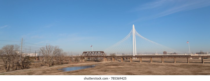Margaret Hunt Hill and old railway bridge in Downtown Dallas, Texas, USA spans the Trinity River.