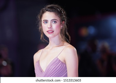 "Margaret Qualley walks the red carpet ahead of the ""Seberg"" screening during the 76th Venice Film Festival at Sala Grande on August 30, 2019 in Venice, Italy."