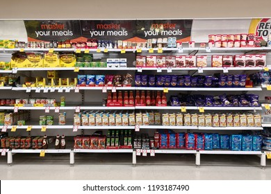 MARGARET RIVER, AUSTRALIA - JUNE 16, 2018: Interior view of Coles supermarket. Coles is an Australian supermarket, retail and consumer services chain, headquartered in Melbourne.