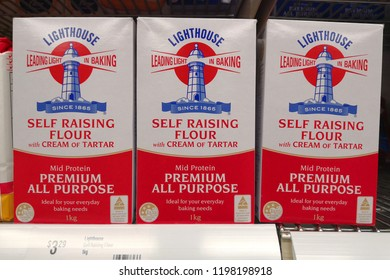 MARGARET RIVER, AUSTRALIA - JUNE 16, 2018: Lighthouse brand baking flour on Coles store shelf. Coles is an Australian supermarket, retail and consumer services chain, headquartered in Melbourne.