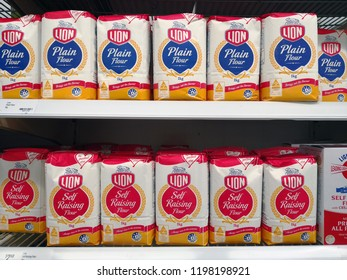 MARGARET RIVER, AUSTRALIA - JUNE 16, 2018: Lion brand baking flour on Coles store shelf. Coles is an Australian supermarket, retail and consumer services chain, headquartered in Melbourne.