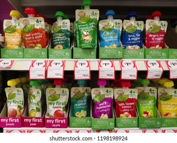 MARGARET RIVER, AUSTRALIA - JUNE 16, 2018: Various flavours of Rafferty's garden brand baby food pouches on coles store shelf. Coles is an Australian supermarket, retail and consumer services chain.