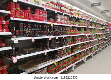 MARGARET RIVER, AUSTRALIA - JUNE 16, 2018: Interior view canned food products in Coles supermarket. Coles is an Australian supermarket, retail and consumer services chain, headquartered in Melbourne.