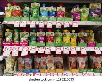 MARGARET RIVER, AUSTRALIA - JUNE 16, 2018: Various flavours brand of baby food pouches on Coles store shelf. Coles is an Australian supermarket, retail and consumer services chain.