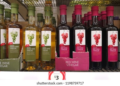 MARGARET RIVER, AUSTRALIA - JUNE 16, 2018: Various choice of coles brand vinegar on store shelf. Coles is an Australian supermarket, retail and consumer services chain.