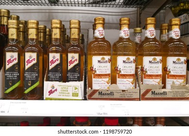MARGARET RIVER, AUSTRALIA - JUNE 16, 2018: Various brand organic apple cider vinegar on store shelf in Coles supermarket. Coles is an Australian supermarket, retail and consumer services chain.