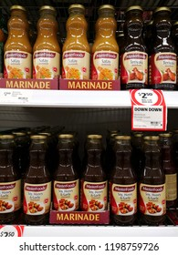 MARGARET RIVER, AUSTRALIA - JUNE 16, 2018: MasterFoods marinade sauce on store shelf in Coles supermarket. Coles is an Australian supermarket, retail and consumer services chain.