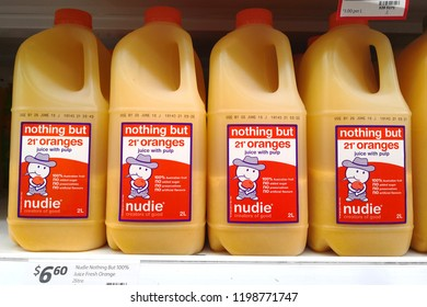 MARGARET RIVER, AUSTRALIA - JUNE 16, 2018:  Orange juice bottles on shelves in Coles supermarket. Coles is an Australian supermarket, retail and consumer services chain, headquartered in Melbourne.