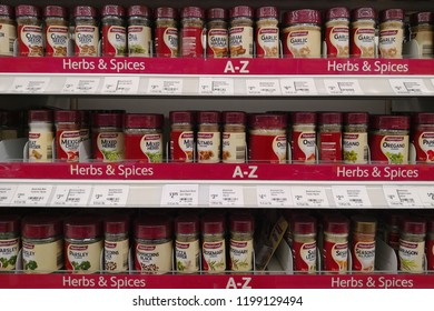 MARGARET RIVER, AUSTRALIA - JUNE 16, 2018: Various MasterFoods brand herbs and spices on store shelf in Coles supermarket. Coles is an Australian supermarket, retail and consumer services chain.