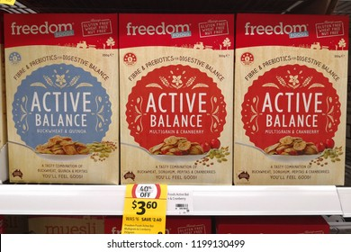 MARGARET RIVER, AUSTRALIA - JUNE 16, 2018: Freedom Foods brand multi grains cereal on store shelf in Coles supermarket. Coles is an Australian supermarket, retail and consumer services chain.