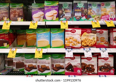 MARGARET RIVER, AUSTRALIA - JUNE 16, 2018: Various brand of baking ingredients on store shelf in Coles supermarket. Coles is an Australian supermarket, retail and consumer services chain.