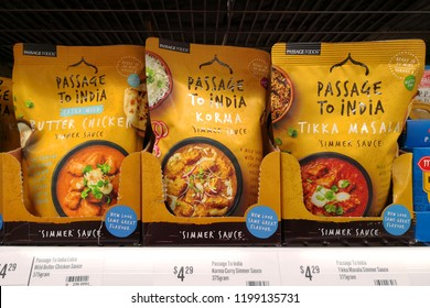 MARGARET RIVER, AUSTRALIA - JUNE 16, 2018: Passages foods brand authentic Indian cooking sauce on shelf in Coles supermarket. Coles is an Australian supermarket, retail and consumer services chain.