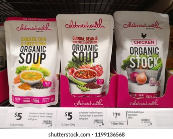 MARGARET RIVER, AUSTRALIA - JUNE 16, 2018: Celebrate Health brand organic soup pack on store shelf in Coles supermarket. Coles is an Australian supermarket, retail and consumer services chain.