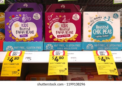 MARGARET RIVER, AUSTRALIA - JUNE 16, 2018: Happy Snack brand fav-va beans snack on store shelf in Coles supermarket. Coles is an Australian supermarket, retail and consumer services chain.