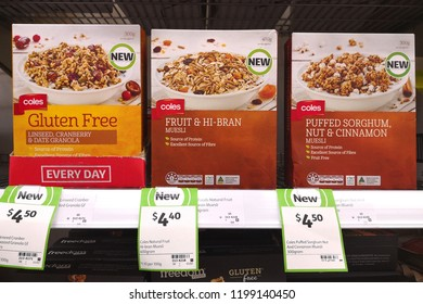 MARGARET RIVER, AUSTRALIA - JUNE 16, 2018: Various choice of Coles brand Muesli on store shelf. Coles is an Australian supermarket, retail and consumer services chain, headquartered in Melbourne.