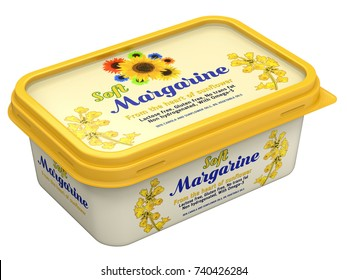 Margarine box with abstract design isolated on white background - 3D illustration