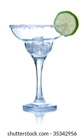 Margarita cocktail glass isolated on white. Soft reflection.