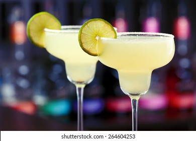 Margarita cocktail shot on a bar counter