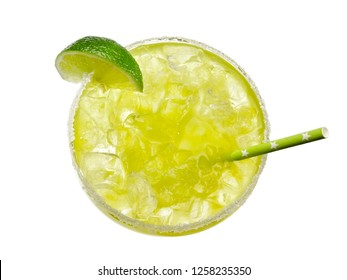 Margarita cocktail with a straw, top view