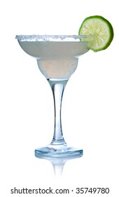 Margarita or Daiquiri cocktail isolated on white. Soft reflection.