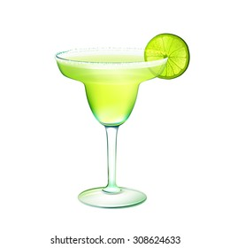Margarita realistic cocktail in glass with lime slice isolated on white background  illustration