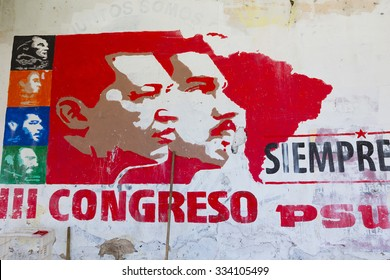 MARGARITA, VENEZUELA, APRIL 18: Political red grapffiti of Hugo Chavez and Nicolas Maduro on a wall in Pampatar, Venezuela 2015
