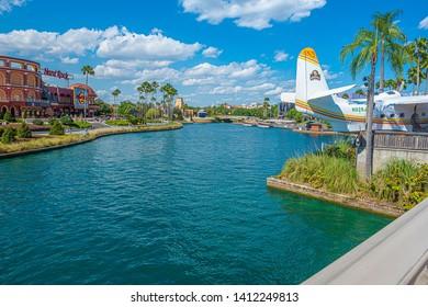 Margaritaville plane and Hard Rock Cafe Restaurant Universal Studios Orlando Florida March 24, 2019