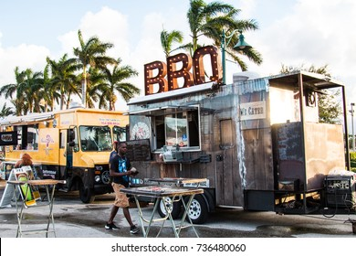 Margate, FL - October 14th, 2017: Food truck festival, market place and concert in Margate, South Florida Miami local area
