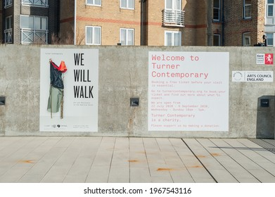 Margate, Kent, UK - Apr 28 2021, Turner Contemporary Art Gallery, advertising art show called We Will Walk, Turner Contemporary was the recent host of the Turner Prize modern art exhibition.