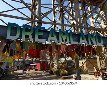 Margate, Kent / UK - August 2 2017: The Scenic Railway at Dreamland Park under blue sky