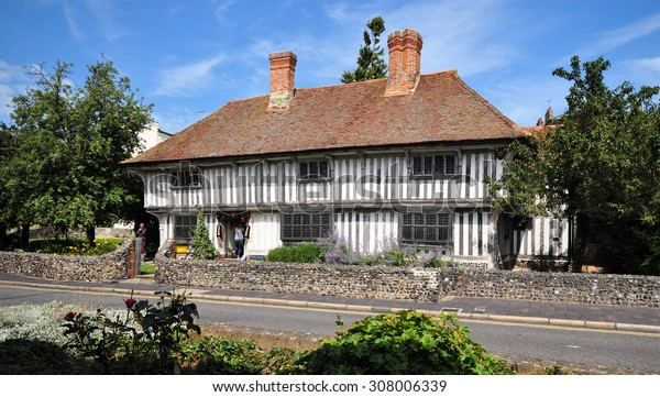MARGATE, UK - AUGUST 15, 2015. The Tudor House dates from around 1525 and exhibits the typical timber frame construction of the period, preserved and restored at King Street, Margate, Kent, UK.