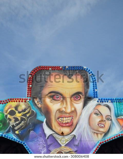 MARGATE, UK - AUGUST 15, 2015. A fairground painting in Margate, an English coastal town in the county of Kent, UK.