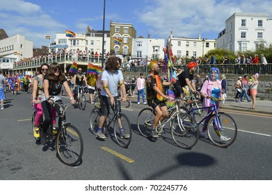 MARGATE, UK-AUGUST 12: Bicyclists take part in the Gay Pride Parade, part of the annual Margate Pride festival. August 12, 2017 in Margate, UK.
